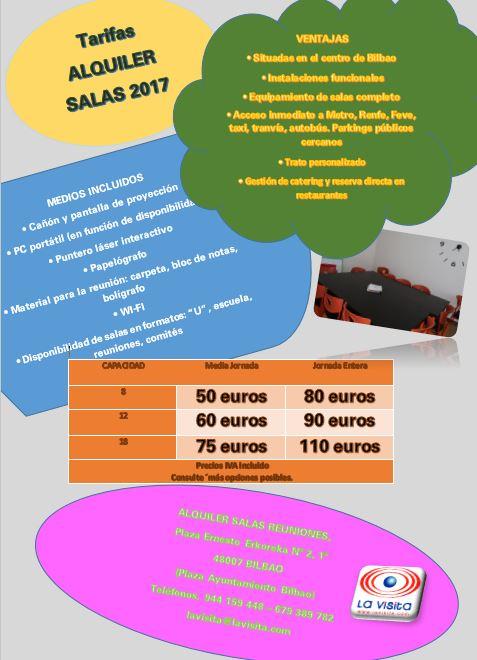 TARIFAS ALQUILER SALA REUNIONES LaVisita BILBAO