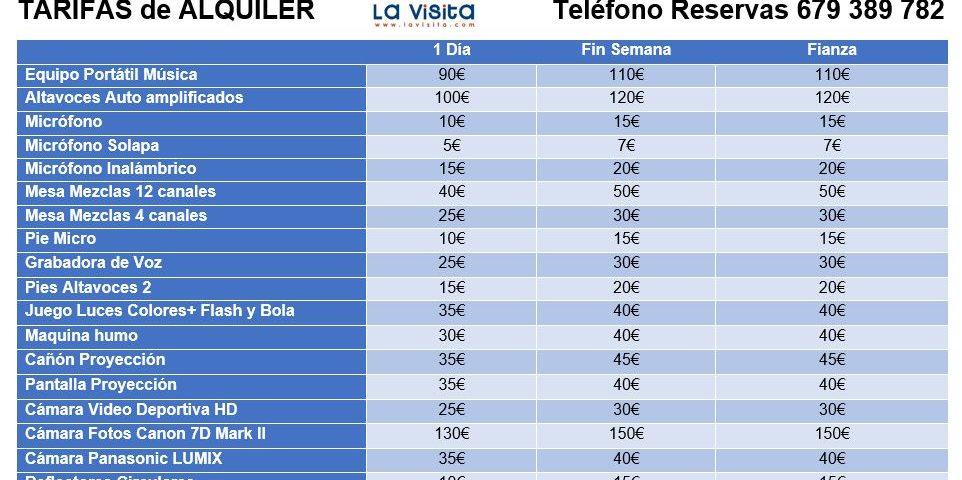 TARIFAS ALQUILER EQUIPOS SONIDO y AUDIOVISUALES LaVisita